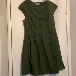 Green button dress eShakti  1x 18w pockets!